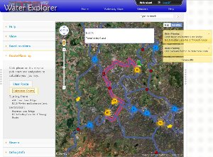 Screen shot of journey planner on map